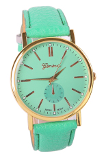 Men's Women's Fashion Roman Numerals Faux Leather Band Casual Analog Quartz Wrist Watch (Mint Green) (Intl)