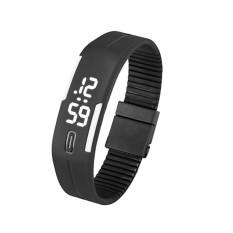 Mens Womens Rubber LED Watch Date Sports Bracelet Digital Wrist Watch Black&White