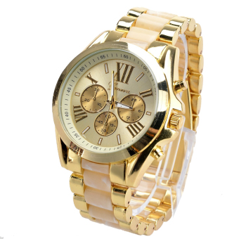 Menswear Quartz Full Steel Watch Women Watches Casual Dress Ladies Wrist Watch Gold Dial Alloy Watch (White)
