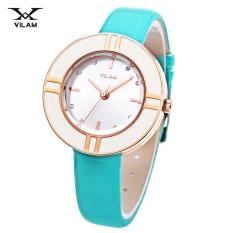 MiniCar VILAM V1022L - 01 Female Quartz Watch Artificial Diamond Circular Dial 3ATM Leather Band Wristwatch Cyan (Color:Cyan) - Intl