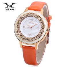 MiniCar VILAM V1025L - 01B Female Quartz Watch Artificial Diamond Dial 3ATM Imported Movt Wristwatch Orange (Color:Orange) - Intl