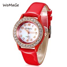 MiniCar WOMAGE 744 Female Quartz Watch Artificial Diamond Dial Luminous Pointer Leather Band Wristwatch Red (Color:Red) - Intl