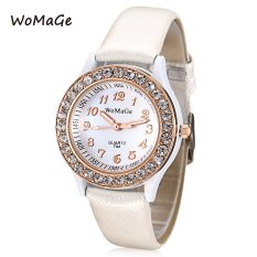 MiniCar WOMAGE 744 Female Quartz Watch Artificial Diamond Dial Luminous Pointer Leather Band Wristwatch White (Color:White) - Intl