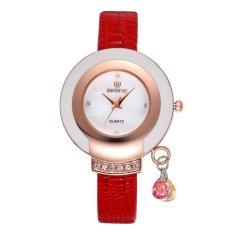 Moob SKONE New Design Ladies' Dress Wrist Watch Women Luxury Brand Leather Wristwatch Shell Quartz Rhinestone Gold Watches Reloj Saat (Black) - Intl