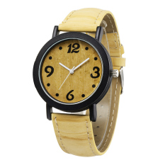 Moonar Women Vintage Wrist Quartz Watch PU Band Wristwatch (Light Yellow)