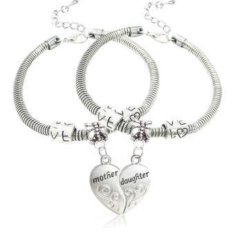 Mother Daughter Mom Girl Love Heart Bangle Bracelet - Intl