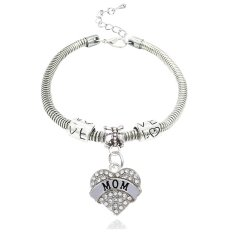 Mother's Day Gift Silver Clear Crystal Love Heart Mom Charm Pendant Bracelet Family Bangle Adjustable (Intl)