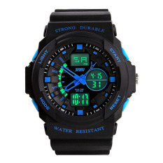 Multi Function Waterproof Digital LCD Alarm Date Mens Military Sport Wrist Blue