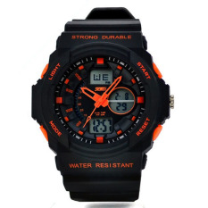 Multi Function Waterproof Digital LCD Alarm Date Mens Military Sport Wrist Orange