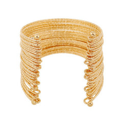 Multilayer Iron Wire Cuff Wide Bracelets Womens Fashion Jewelry LB310 Gold