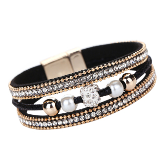 Multilayer Pearl Rhinestone Beaded Leather Bracelet Black