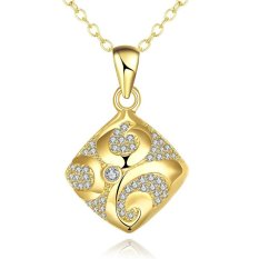 N004-A Zircon Necklace Fashion Jewelry 18K Gold Plating Necklace (Gold) (Intl)