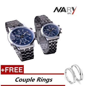 NARY 6033 Dial klasik sepasang kekasih pria wanita lengkap jam tangan Stainless Steel kuarsa biru (