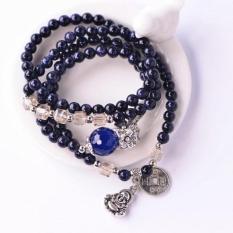 Natural Blue Gravel Blue Crystal Bracelet Lucky Amulet Beads Male And Female Couple Multilayer Beaded Bracelet Gift Box - Blue-Black