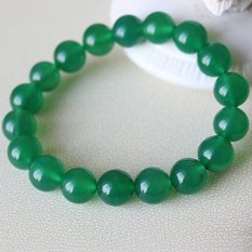Natural Green Agate Bead Bracelet Green Crystal Beads Bracelets Promote Healthy Men and Women with Evil Effect - Bead 12M [M Wrist Fine Or Coarse Woman Wrist (Intl)