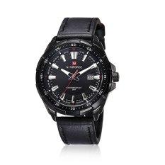NAVIFORCE Montre Mens Watches Classic Leather Clock Men Date Day Calendar Wrist Watches Black - Intl