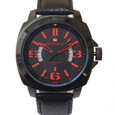 Naviforce NF 9062 - Leather Strap - Hitam-Merah