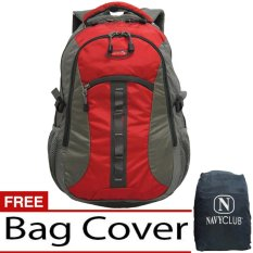 Navy Club Tas Ransel Kasual 6262 Backpack Daypack Bonus Bag Cover - Merah