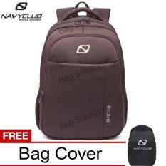 Navy Club Tas Ransel Laptop Backpack Up to 15.6 inch Anti Air 62060 - Coffee Bonus Jas Hujan
