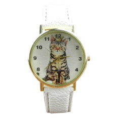 Neutral Diamond Lovely Cats Face Faux Leather Quartz Watches White (Intl)