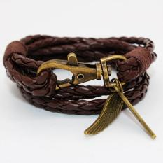 New Arrival Elegant PU Leather Charm Friendship Bracelets Bangles Feather Accessories Wedding Men Jewelry New(Brown) - intl