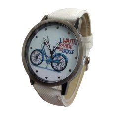 New Arrival Hot Sale Cowboy Unisex Strap Watches Bicycle Pattern Quartz Student Watches (Blue) (Intl)