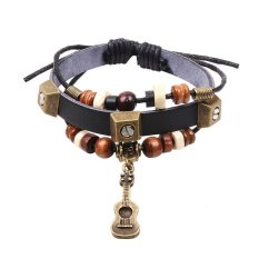 New Fashion Handmade Antique Gold Guitar Wood Beads Friendship Leather Charm Bracelet Fine Jewelry For Women (Intl)