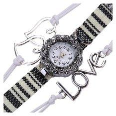 New Fashion Love Heart Braid Winding Wrap Bracelet Watch White - Intl - Intl