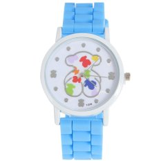 New Fashion Quartz Watch Women Bear Style Jelly Casual Wristwatch Skyblue