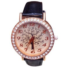 New Fashion Tree Dial Lady Women's Leather Band Round Crystal Hour Quartz Watch Black