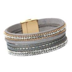 New Fashion Women Alloy Diamond Magnetic Leather Bracelets Gray