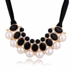 New Fashion Womens Elegant Crystal Pearls Ribbon Bib Necklaces LB213 Black