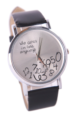 New Fashion Women's Men's Who Cares Faux Leather Arabic Numerals Wrist Watch (Black) (Intl)