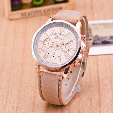 NEW GENEVA Style 3 Eye Chronograph 24 Hour Time Leather Unisex Wrist Watch (Orange) (Intl)