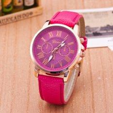 NEW GENEVA Style 3 Eye Chronograph 24 Hour Time Leather Unisex Wrist Watch (Rose-Carmine) (Intl)