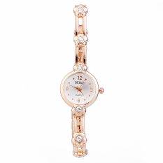 New Hot Fashion Alloy Crystal Diamond Bling Quartz Watch Plum Blossom Bracelet Bangle Women S Wristwatches Gold (Intl)
