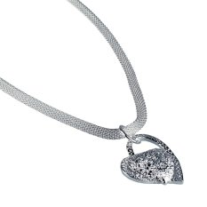 New Hot Fashion Women Lady Silver Plated Beautiful Heart Shape Necklace Pendant Necklace Jewelry Nice Gift
