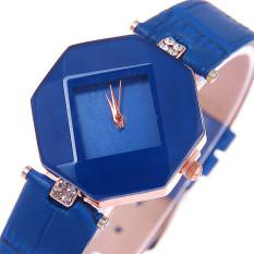 New Korea Style Prismatic Dial Fashion Couple Watch (Blue)
