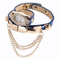 New Leather Star Bracelet Wristwatch Women Chain Hot Wirst Watch Blue (Intl)
