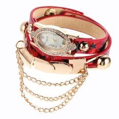 New Leather Star Bracelet Wristwatch Women Chain Hot Wirst Watch Red (Intl)
