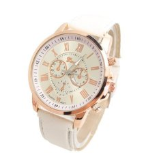 New Luxury Fashion Geneva Brand Women Candy Color Roman Scale Casual Watche(White) (Intl)