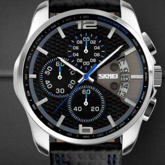New Luxury Quartz Watch Men Outdoor Sports Chrono Leather Band Waterproof Wristwatch Relogio Masculino Top Brand SKMEI 9106(Blue) - intl