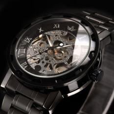 New Men Classic Transparent Steampunk Skeleton Mechanical Stainless Steel Watch (Black&Bronze)