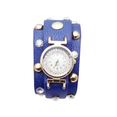 New Popular Ladies Rivet Punk Chain Leather Bracelet Watch Hot Vintage Winding Watch Quartz Women Watch Famous Brand (Royal Blue) (Intl)