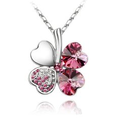 New Silver Alloy Pink Rhinestone Crystal Four Leaf Clover Pendant Necklace Fashion Jewelry Gift For Women (Intl)