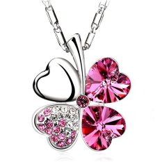 New Silver Alloy Red Rhinestone Crystal Four Leaf Clover Pendant Necklace Fashion Jewelry Gift For Women (Intl)