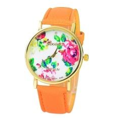New Style Geneva Woman Analog Quartz Watch Flower Face Style Leather Band (Orange)