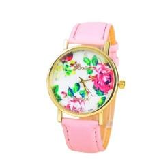 New Style Geneva Woman Analog Quartz Watch Flower Face Style Leather Band (Pink)