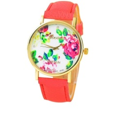 New Style Geneva Woman Analog Quartz Watch Flower Face Style Leather Band (Red)