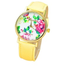 New Style Geneva Woman Analog Quartz Watch Flower Face Style Leather Band (Yellow)